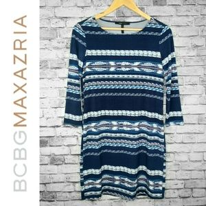 🆕 BCBG Maxazria Blue Striped Quarter Sleeve Dress